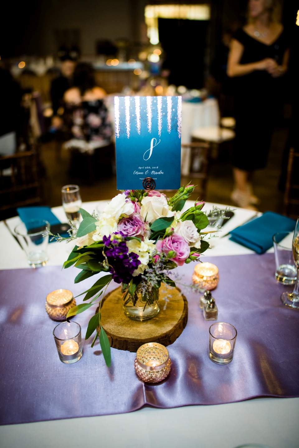 wedding reception table numbers with gold details