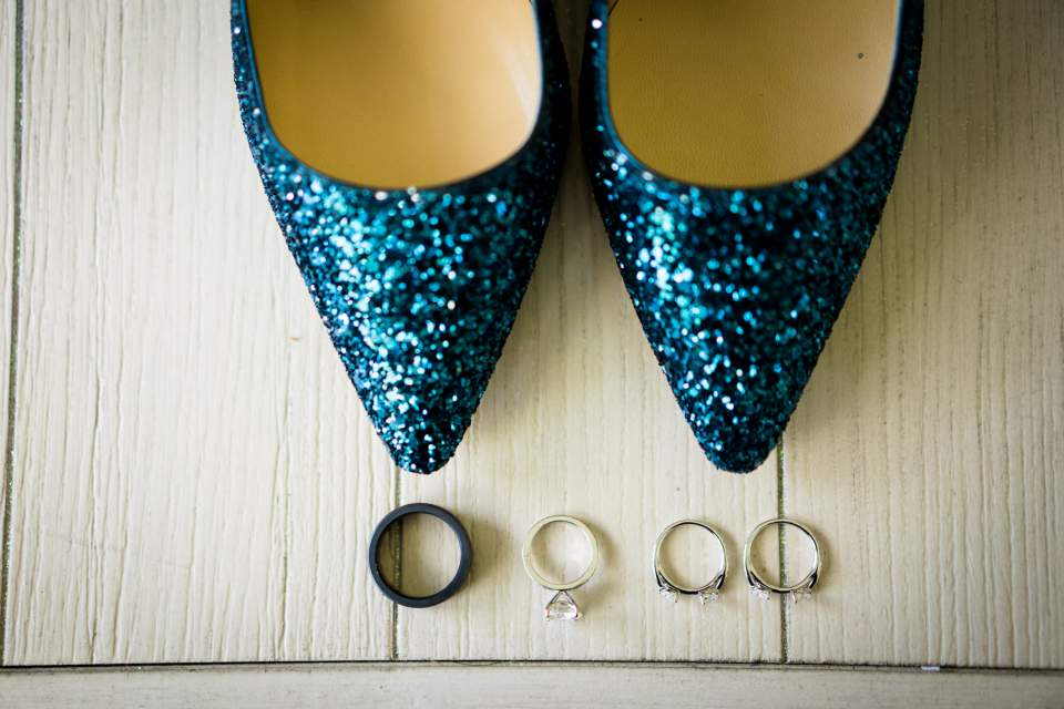 wedding rings and sparkly jimmy choo shoes
