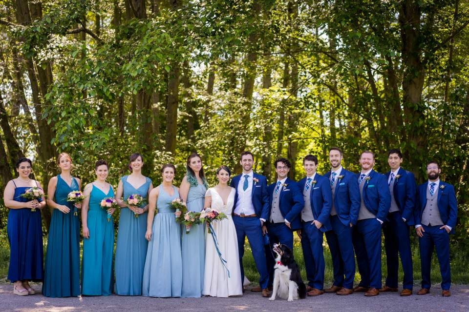 blue ombre wedding party