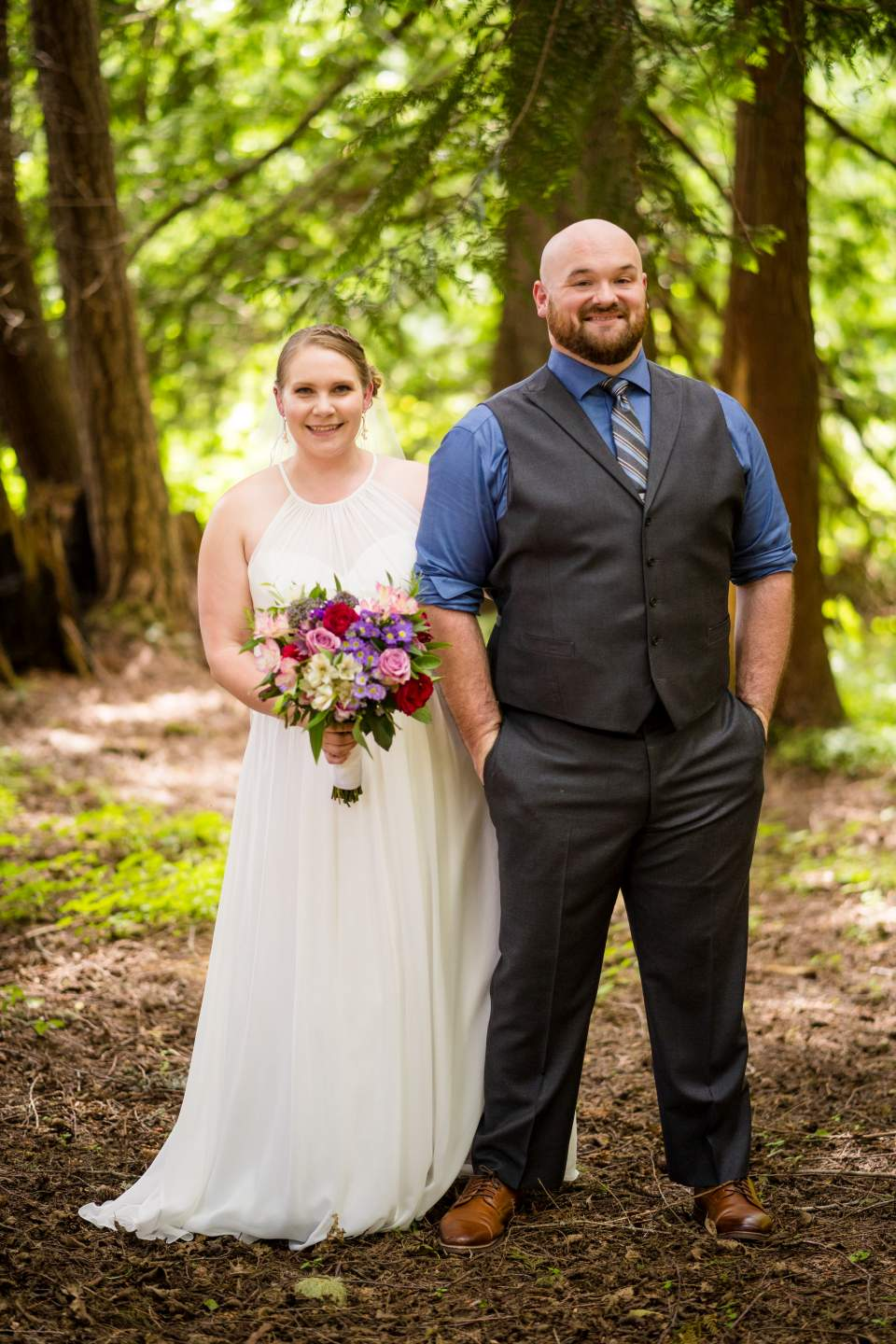 bride and groom forest portrait