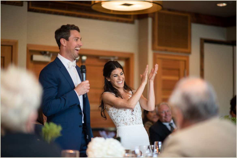 bride and groom give wedding welcome speech 1