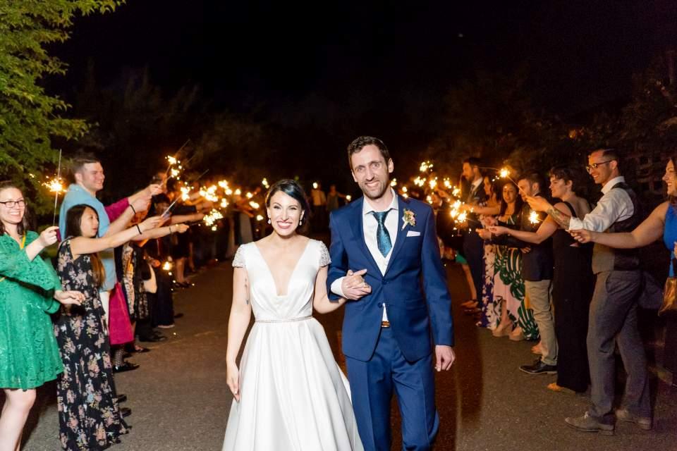 bride and groom sparkler exit cuh seattle wedding