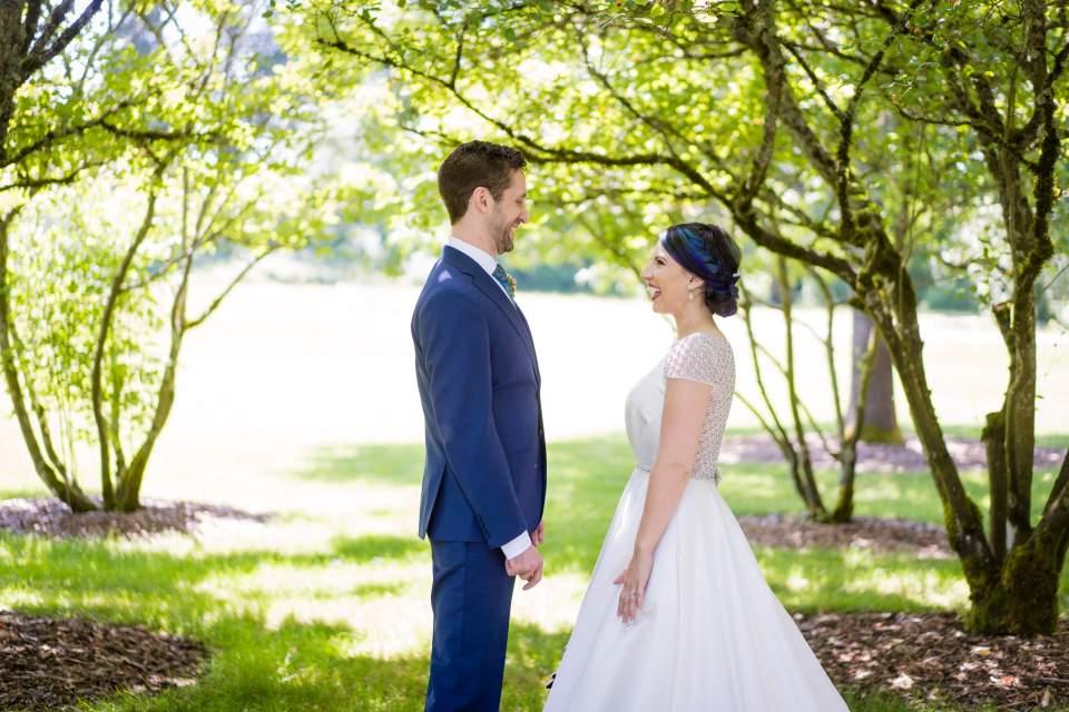 bride and grooom first look