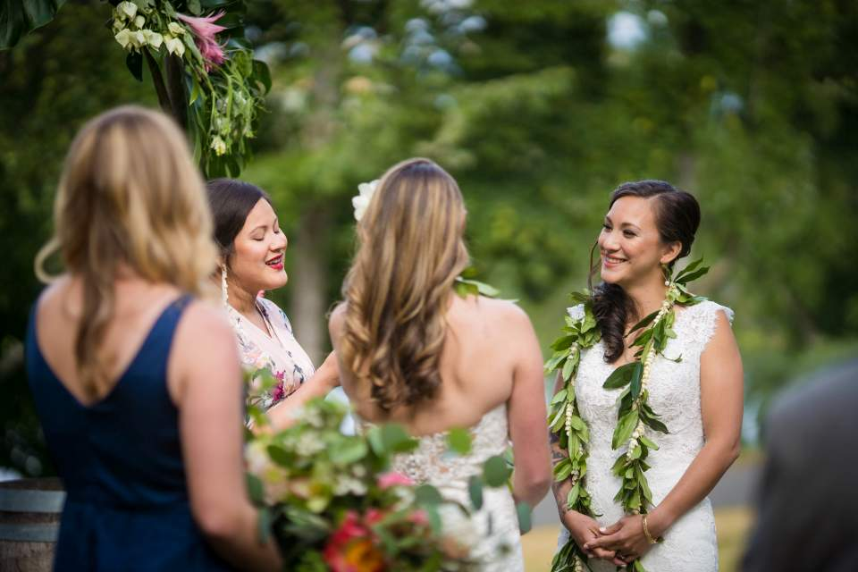 bride emotional moment during ceremony