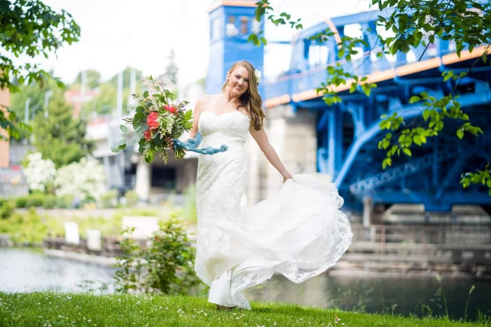 bride twirling dress downtown seattle