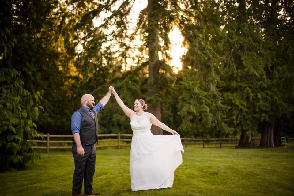 bride twirling sunset