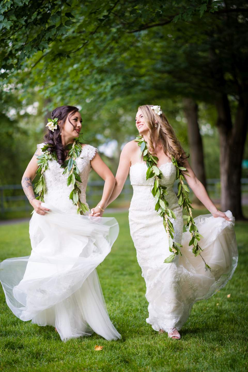 cute genuine portrait of brides running