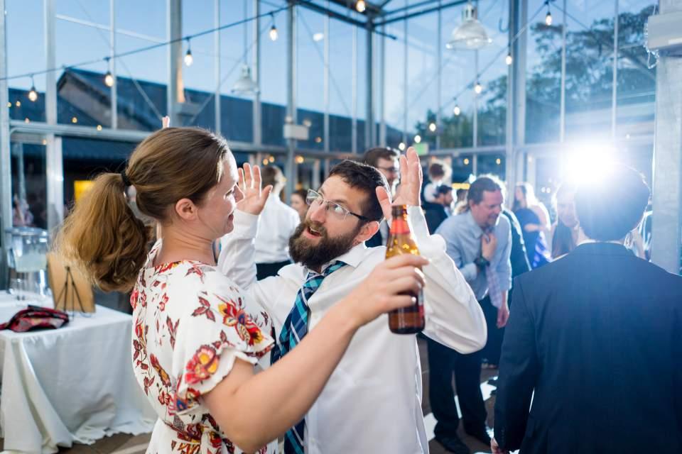 dance floor photos at center for urban horticulture wedding reception