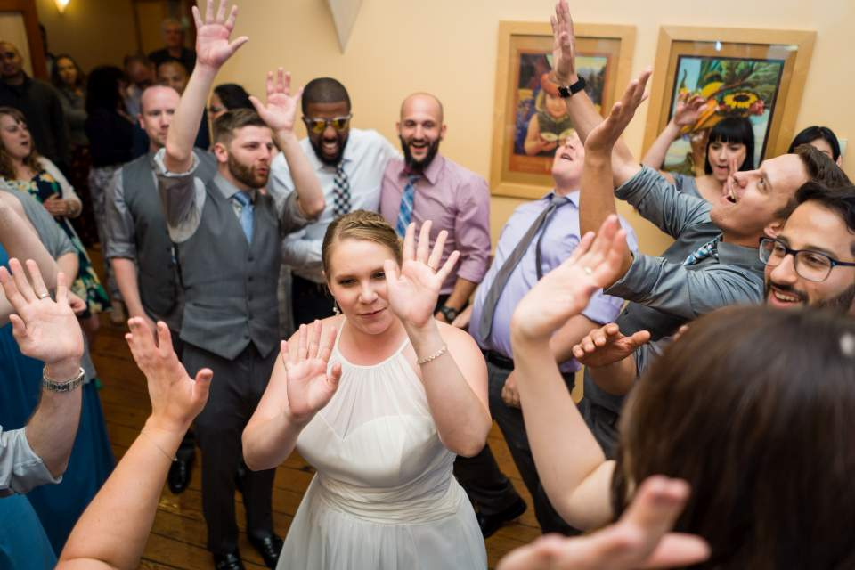 farm kitchen wedding party
