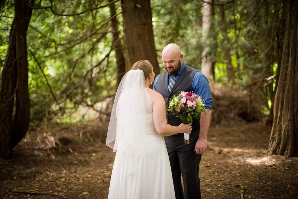 first look bride and groom cedar grove farm kitchen wedding