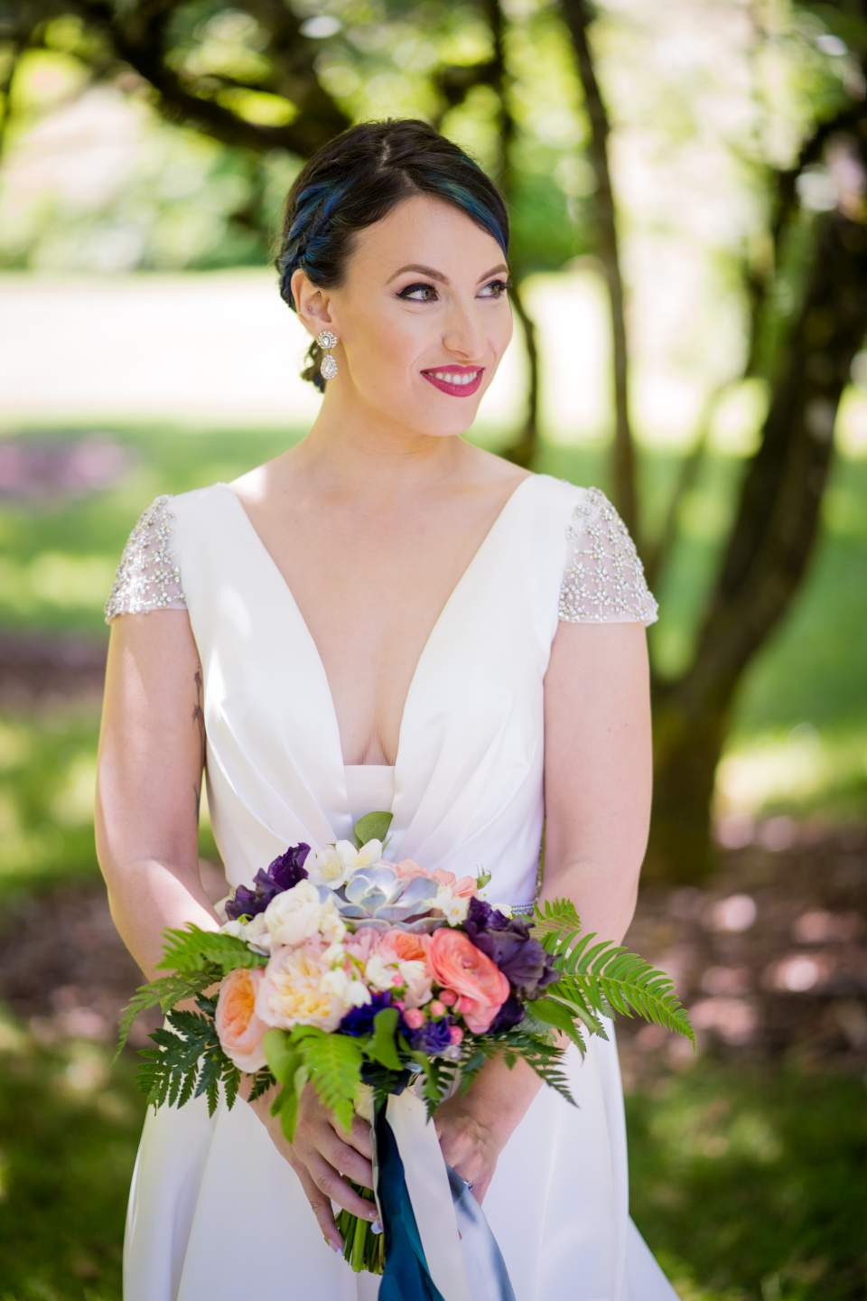 gorgeous spring bride on wedding day