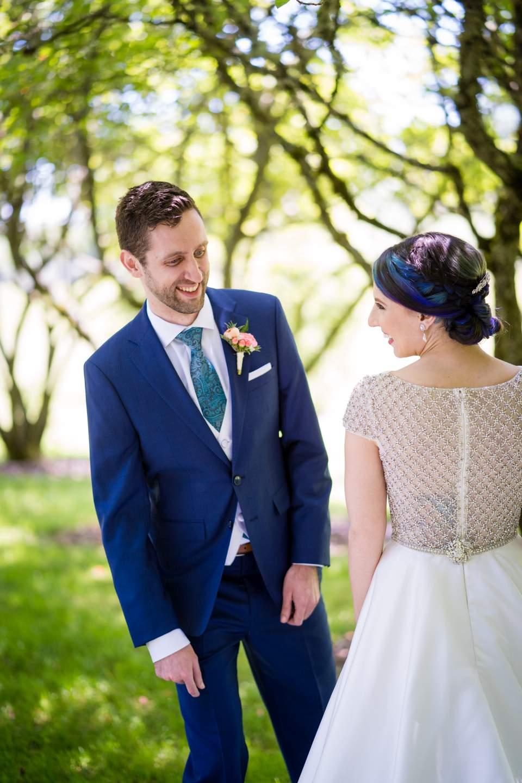 groom seeing bride on wedding day