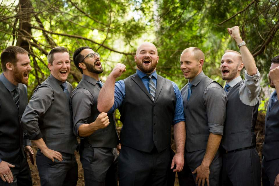 groomsmen being rowdy
