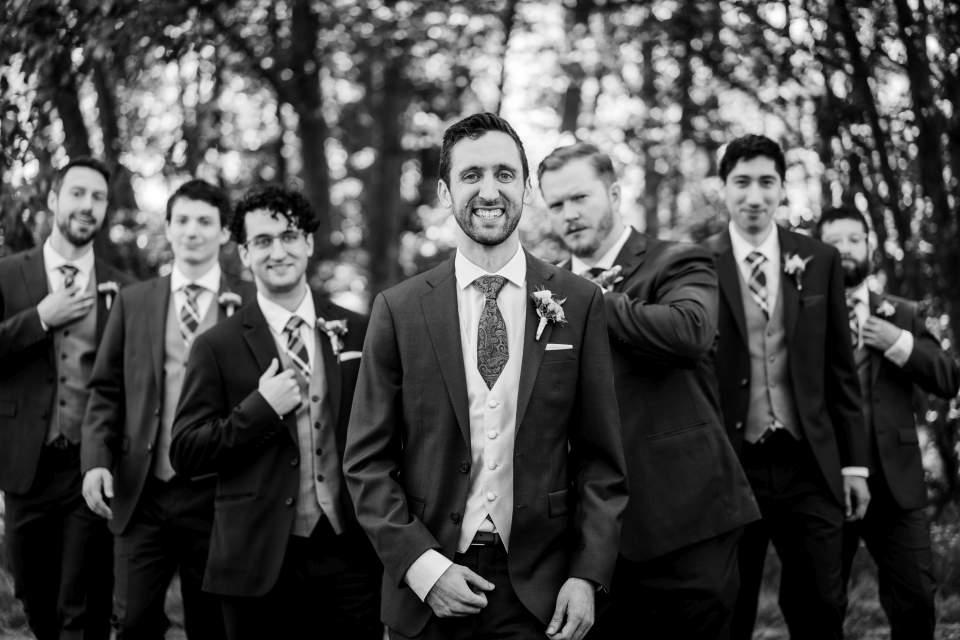 groomsmen playing it cool