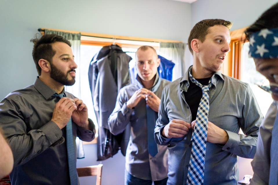 guys getting ready wedding morning