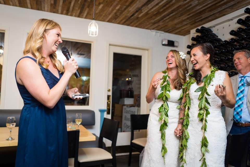 sister of bride toasting wedding reception