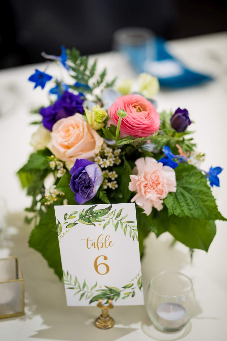 spring flowers on reception tables