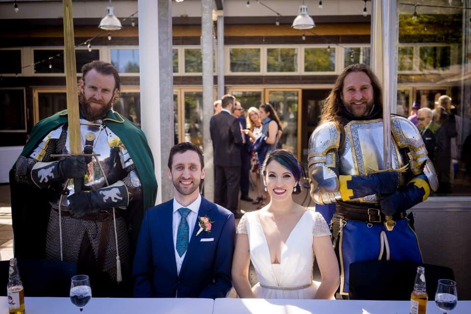 the seattle knights with bride and groom