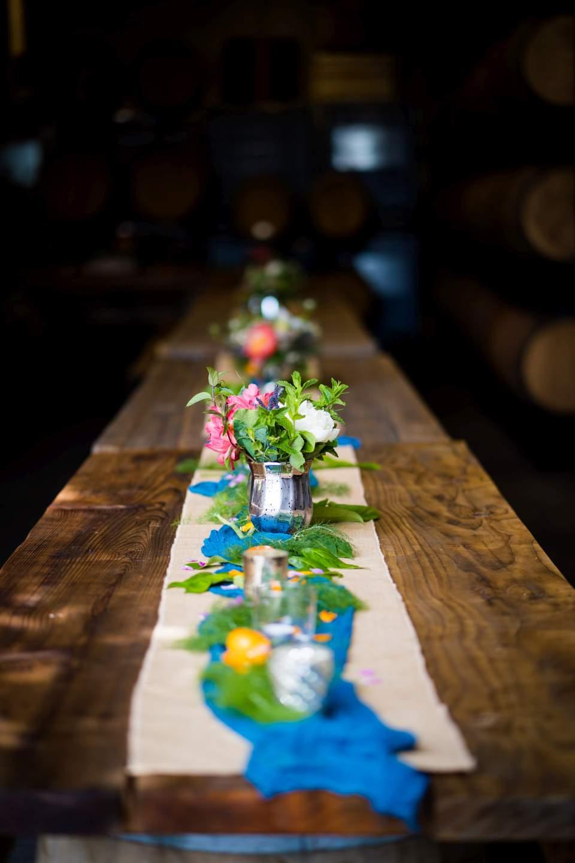 tropical wedding details citrus oranges table scape
