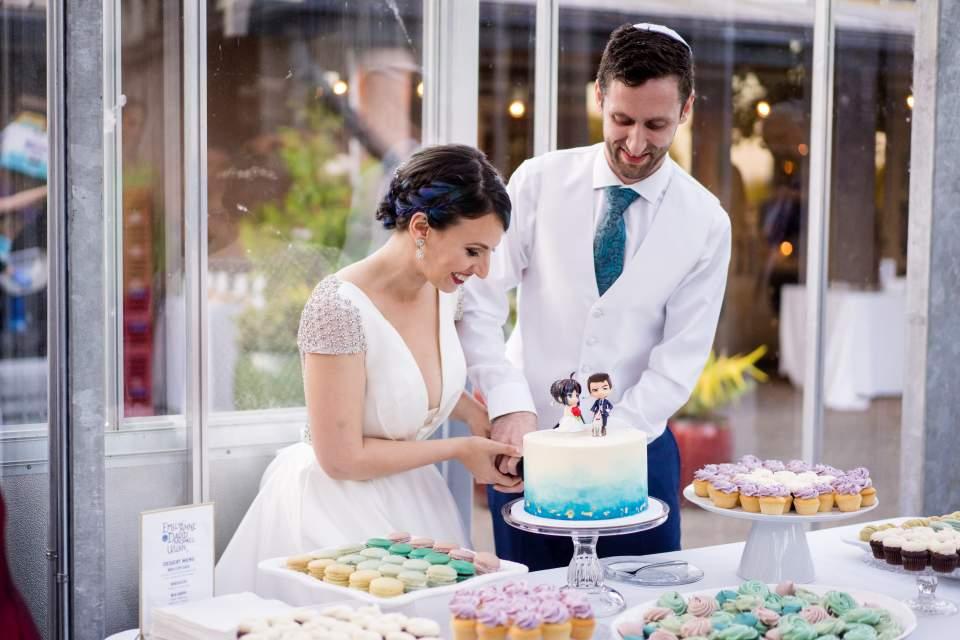 wedding cake cutting at cuh reception