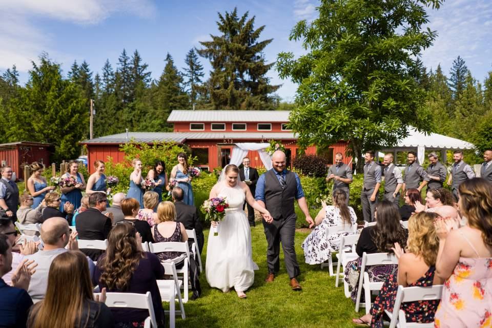 wedding ceremony outdoor recessional fun