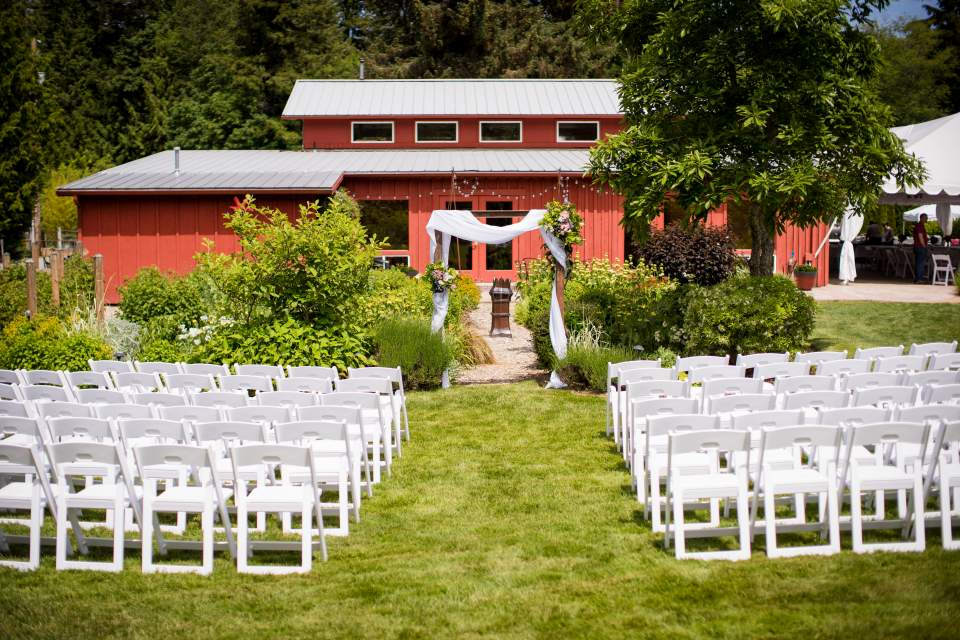 wedding ceremony space outdoor barn