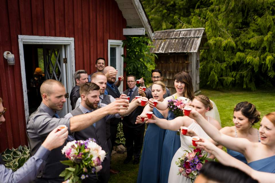 wedding party taking a shot kitsap wedding