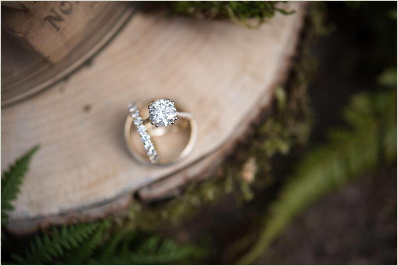 wedding ring detail photo at willows lodge