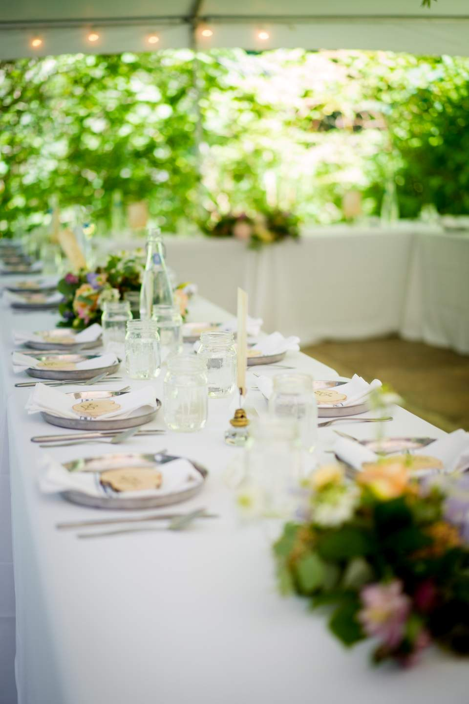 boho table settings tent wedding reception