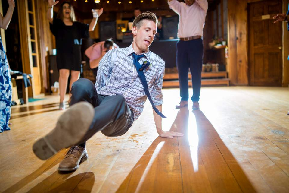 break dancing at wedding reception