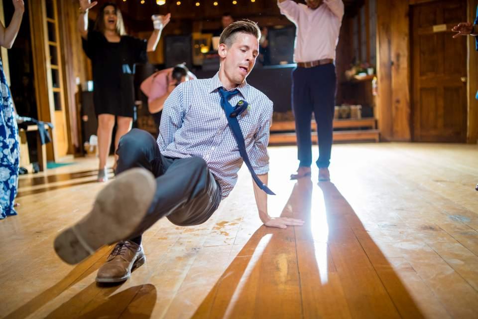 break dancing at wedding reception