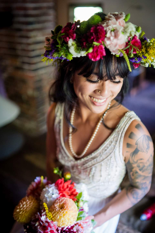 bridal portrait flower crown florals boho bride