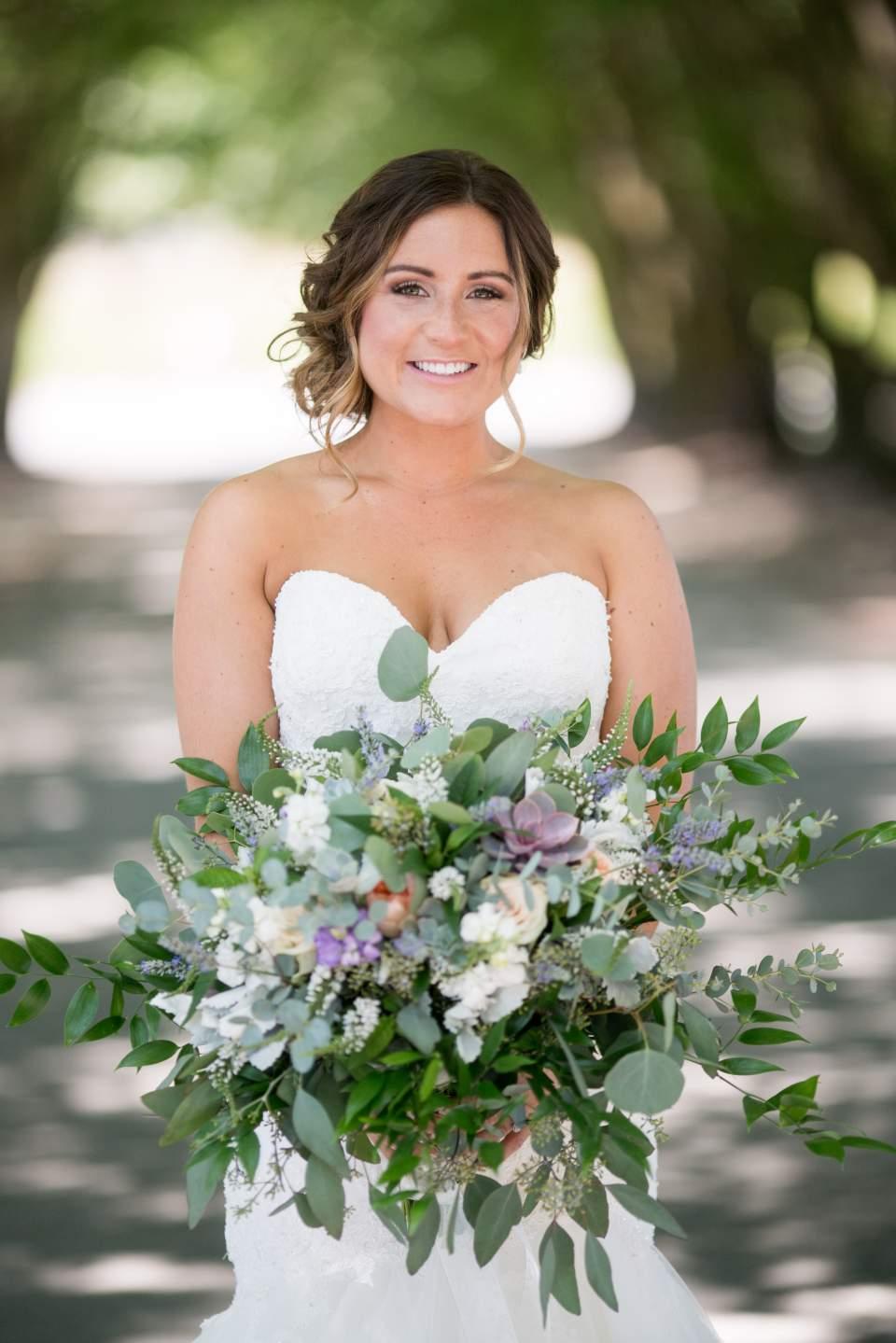 bridal portrait smiling at camera
