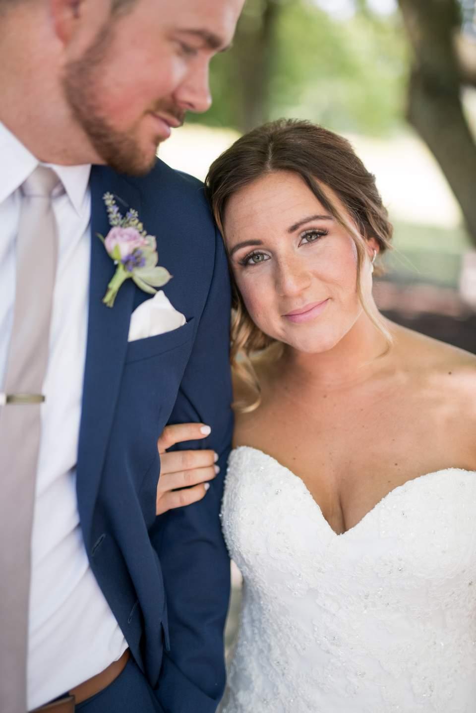 bride and groom at maplehurst farm wedding
