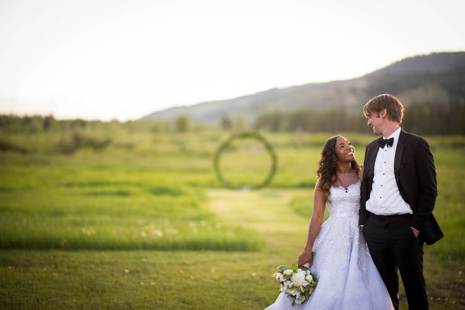 bride and groom ceremony space wedding photo