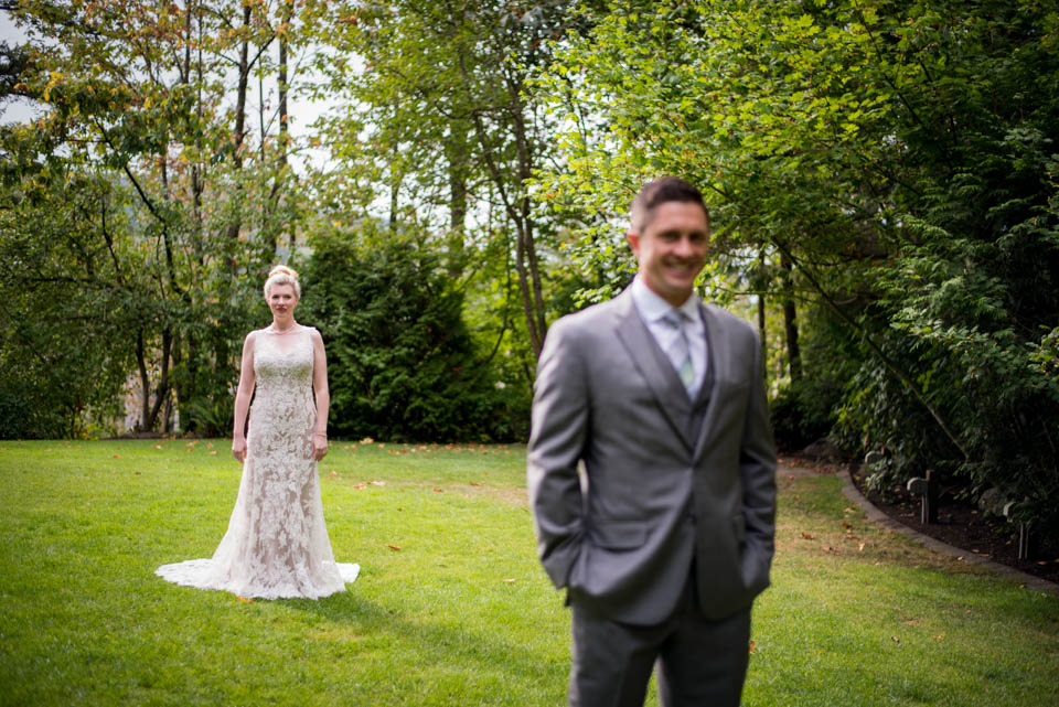 bride and groom first look moments
