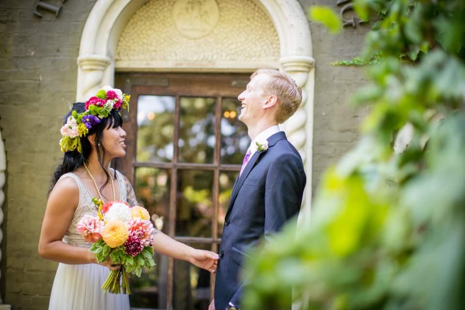 bride and groom happy wedding day photos