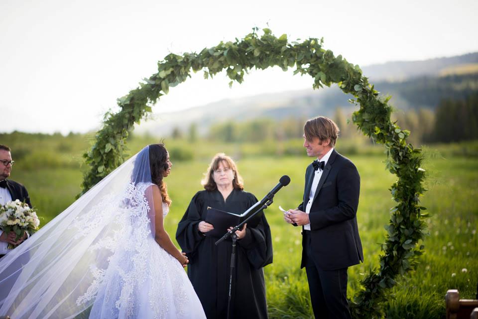 bride and groom judge performing ceremony grand teton wedding