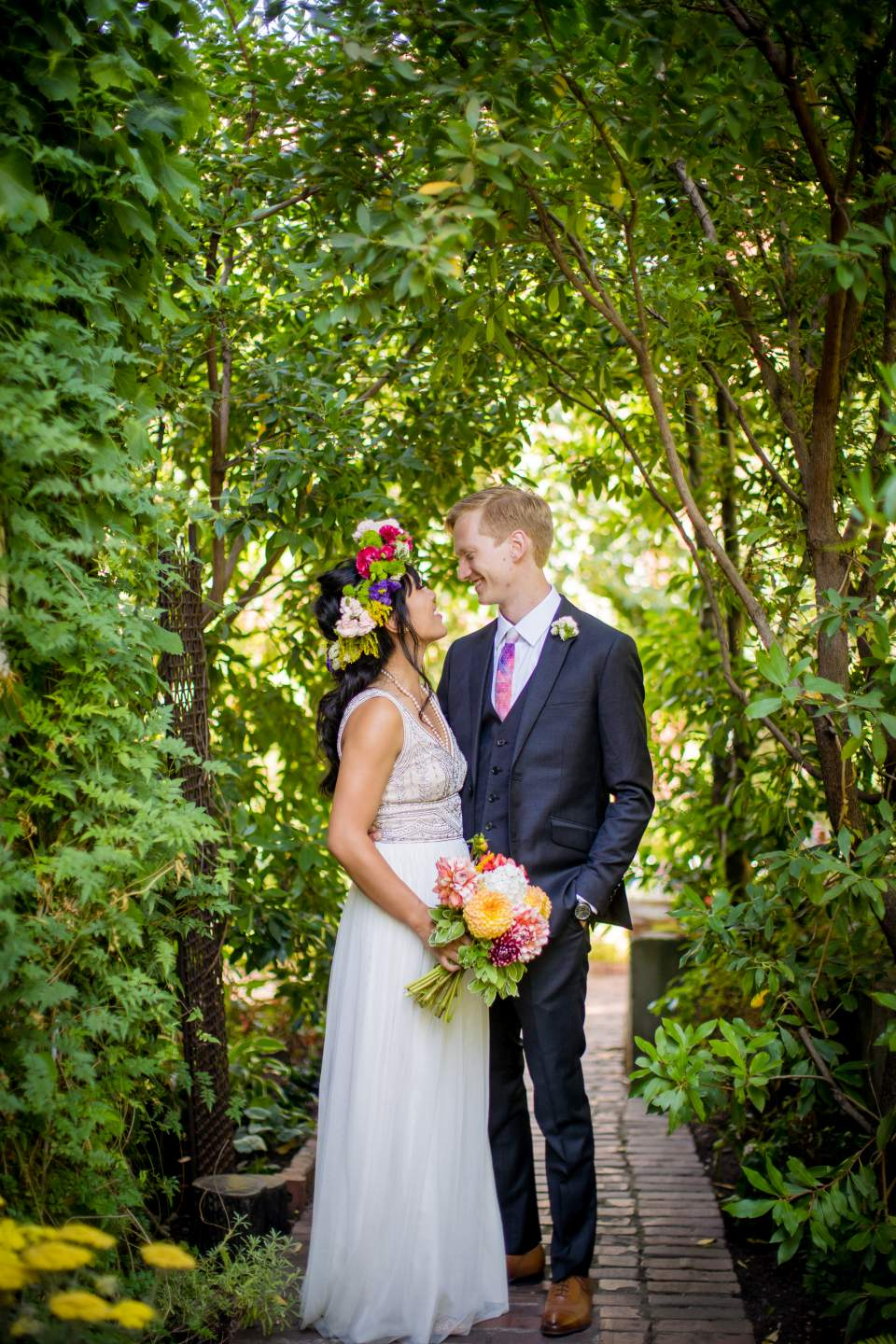 bride and groom portrait floral seattle spring wedding