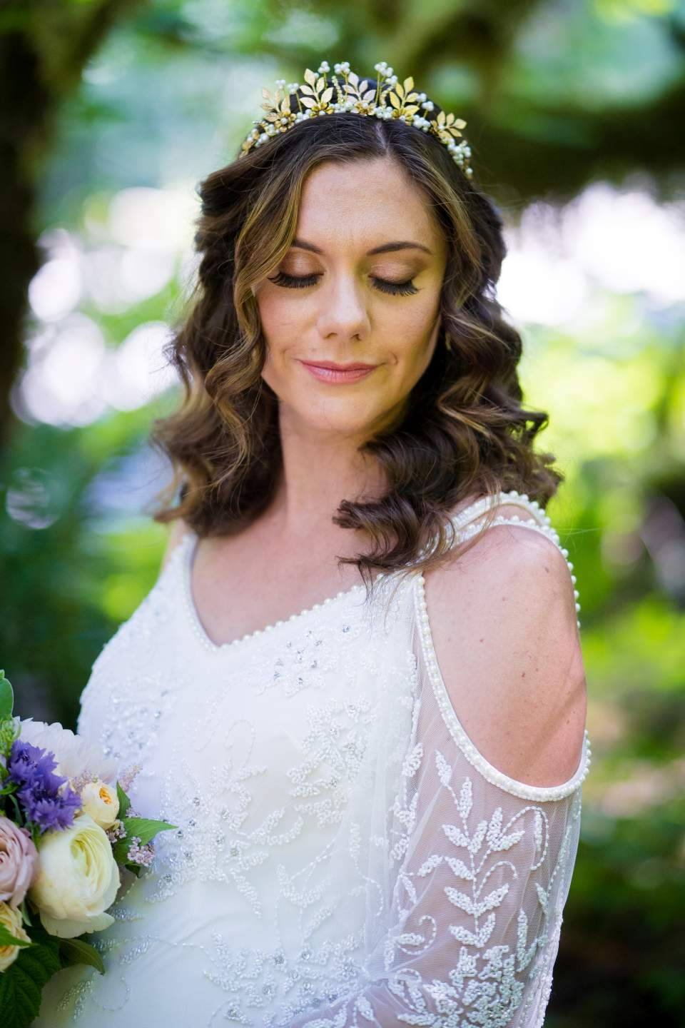 bride boho cold shoulder wedding dress washington elopement