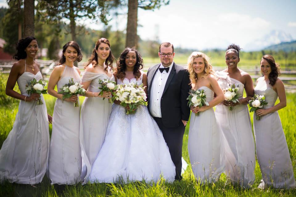 bridesmaids wedding photos grand teton