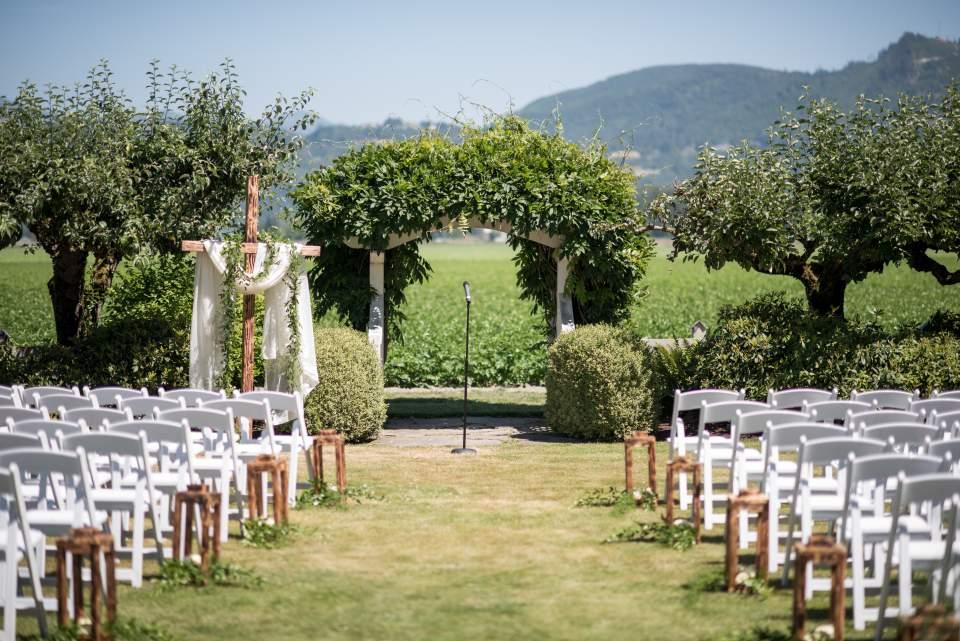 ceremony space at maplehurst farm skagit valley wedding venue