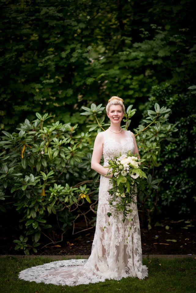 classic bridal portrait floral wedding