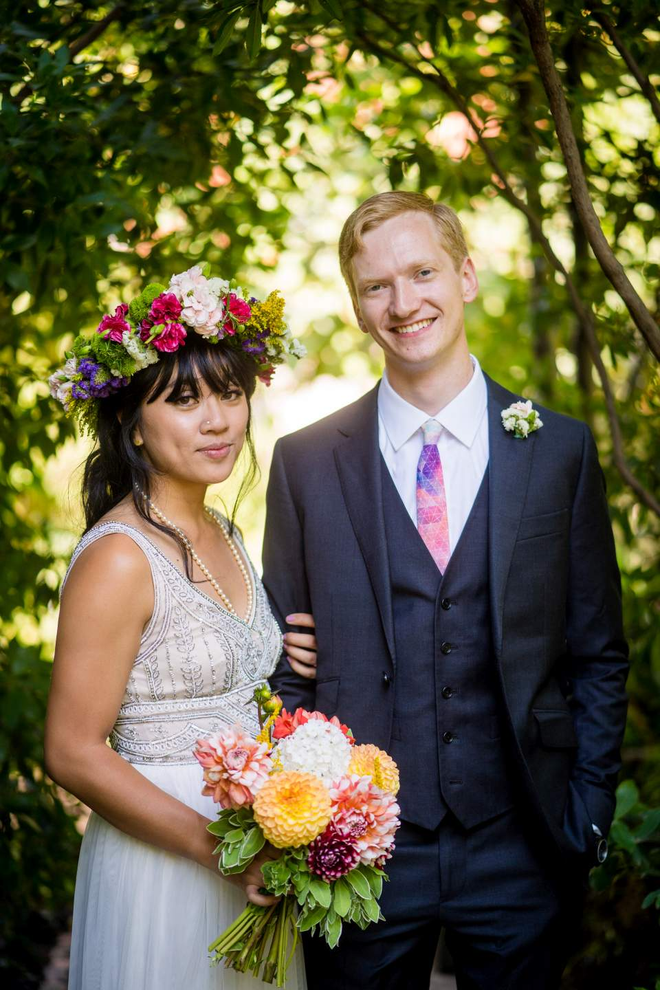 classic bride and groom looking at the camera photos portrait