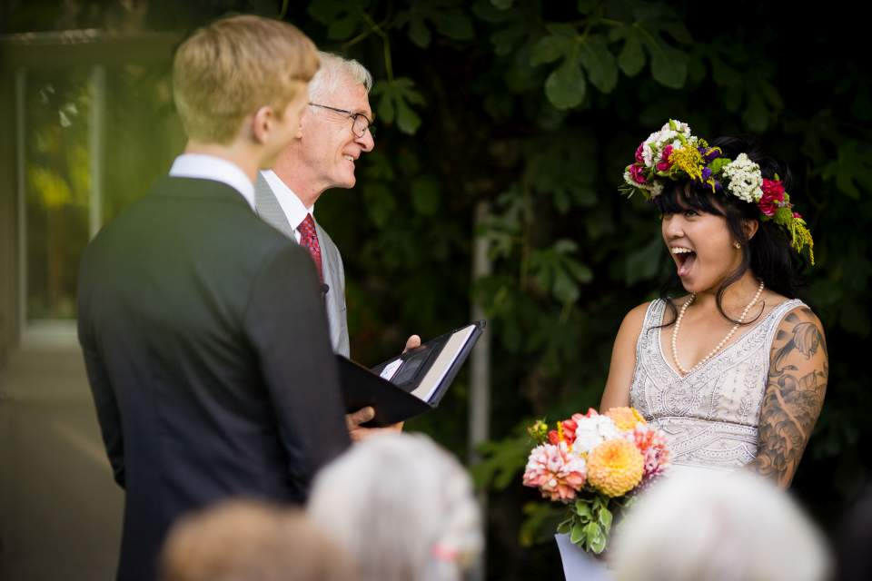 corson building wedding ceremony photos bride reaction excitement