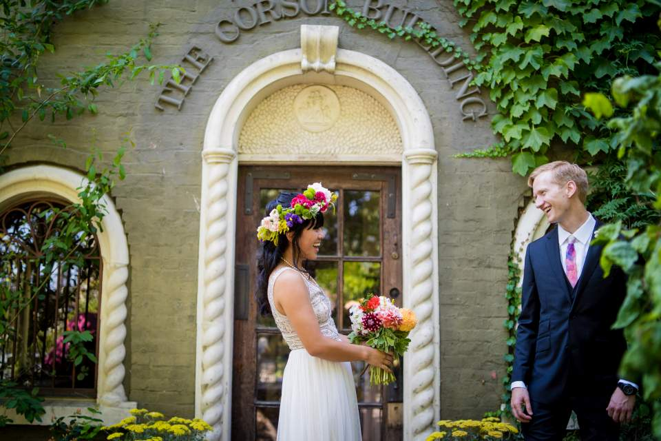 corson building wedding first look seattle wedding photographers grooms reaction