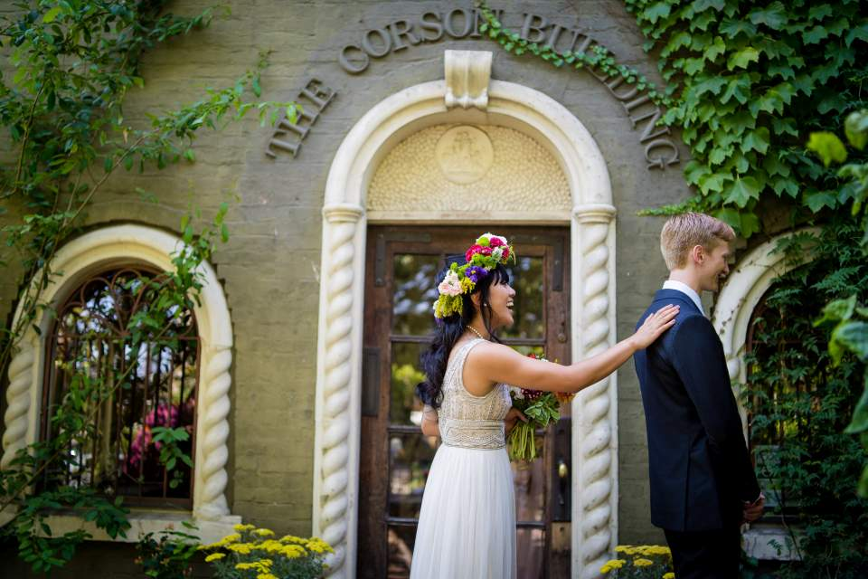 corson building wedding first look seattle wedding photographers