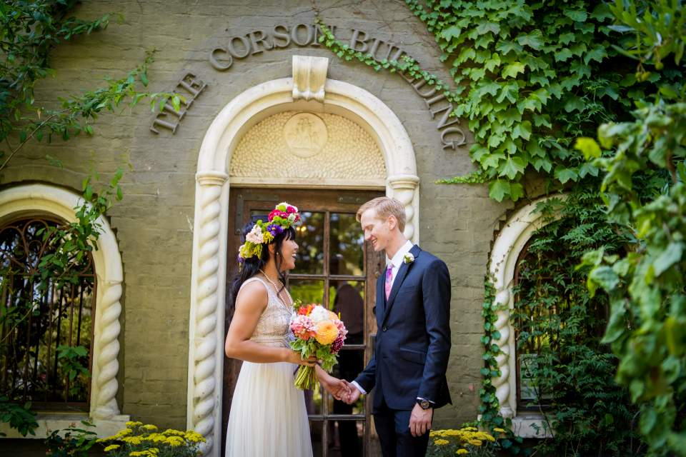 corson building wedding portraits