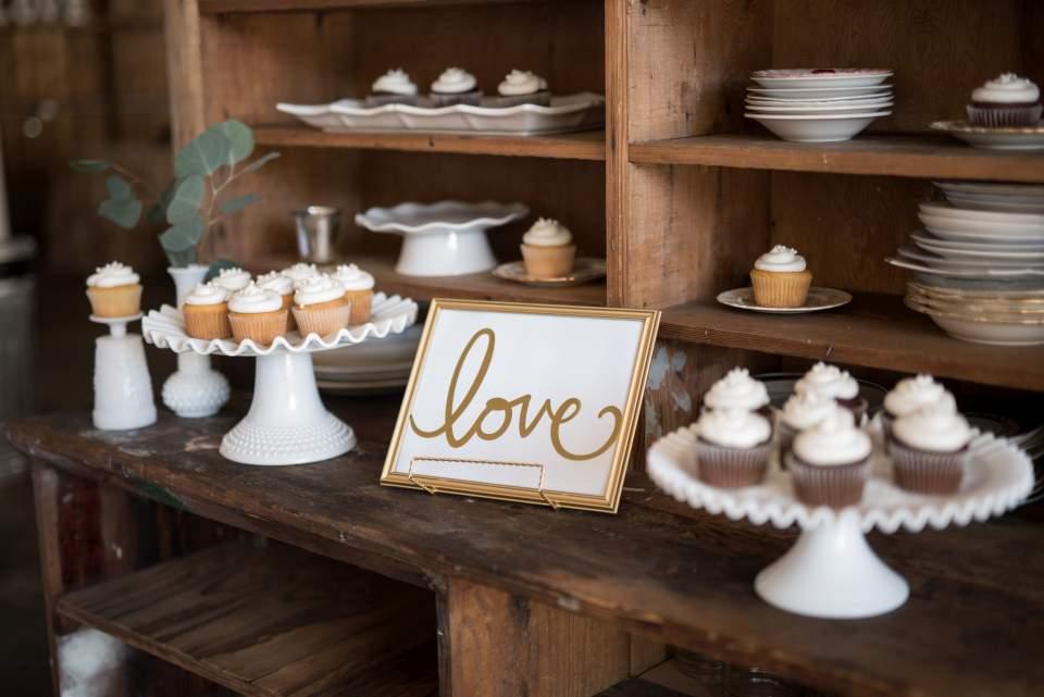 cupcakes on vintage plates