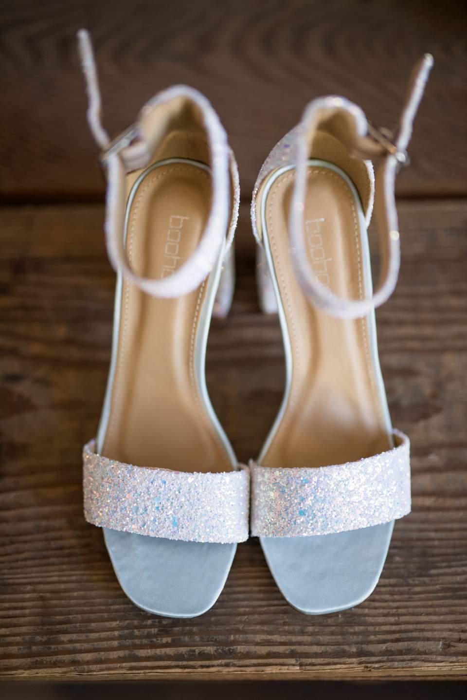 detail photo of brides shoes